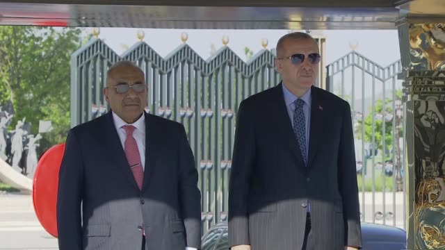 turkish president recep tayyip erdogan welcomes iraqi prime minister adil abdulmahdi with an official ceremony at the presidential complex in ankara... - iraqi prime minister stock videos & royalty-free footage