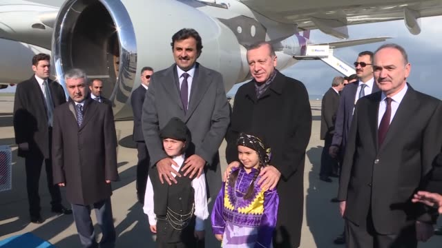 turkish president recep tayyip erdogan welcomes qatari emir sheikh tamim bin hamad al thani upon his arrival in trabzon, turkey on december 18, 2016.... - シャイフ点の映像素材/bロール