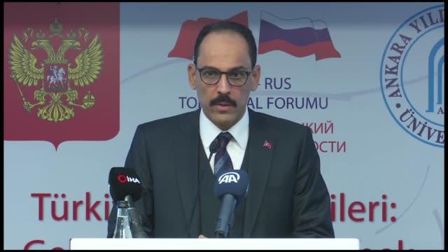 turkish presidential spokesman ibrahim kalin delivers a speech during a symposium on turkeyrussia relations at yildirim beyazit university in ankara... - spokesman stock videos and b-roll footage