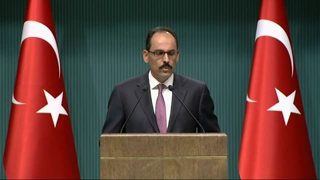 turkish presidential spokesman ibrahim kalin delivers a speech during a press conference at presidental complex in ankara turkey on august 31 2016... - august stock videos & royalty-free footage