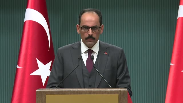 turkish presidential spokesman ibrahim kalin holds press conference at presidential complex in ankara turkey on january 04 2018 speaking about the... - mashhad stock videos & royalty-free footage