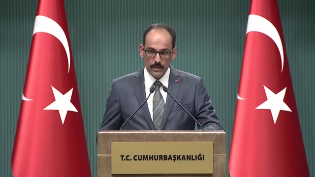 Turkish Presidential Spokesman Ibrahim Kalin speaks at a press conference at presidential complex in Ankara Turkey on May 09 2018 The US' decision to...