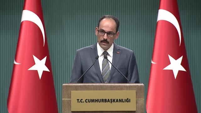 Turkish Presidential Spokesman Ibrahim Kalin speaks at a press conference at presidential complex in Ankara Turkey on May 09 2018 On Greece this week...