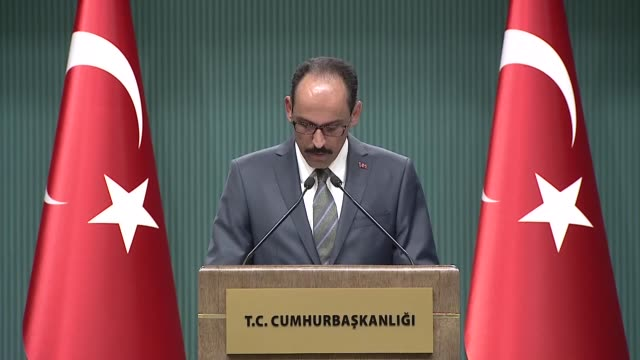 Turkish Presidential Spokesman Ibrahim Kalin speaks at a press conference at presidential complex in Ankara Turkey on May 09 2018 Turning to a French...