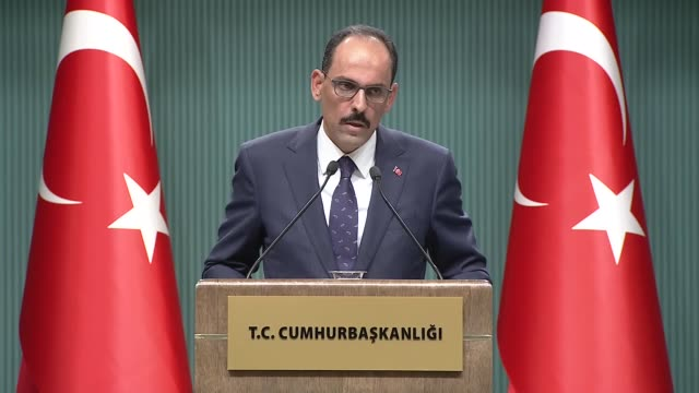 turkish presidential spokesman on thursday said the possibility of formation of a pkk state on turkish syrian border is out of question thanks to... - spokesman stock videos and b-roll footage