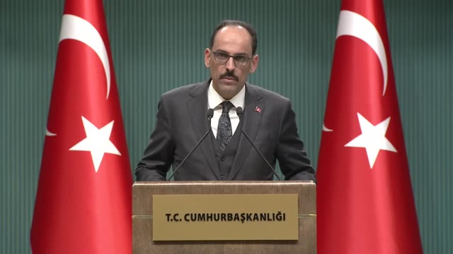 turkish presidential spokesperson ibrahim kalin makes a speech during a press conference after a meeting on coronavirus at the presidential complex... - built structure stock videos & royalty-free footage