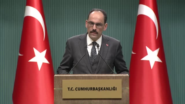 turkish presidential spokesperson ibrahim kalin makes a speech during a press conference after a meeting on coronavirus at the presidential complex... - last stock videos & royalty-free footage