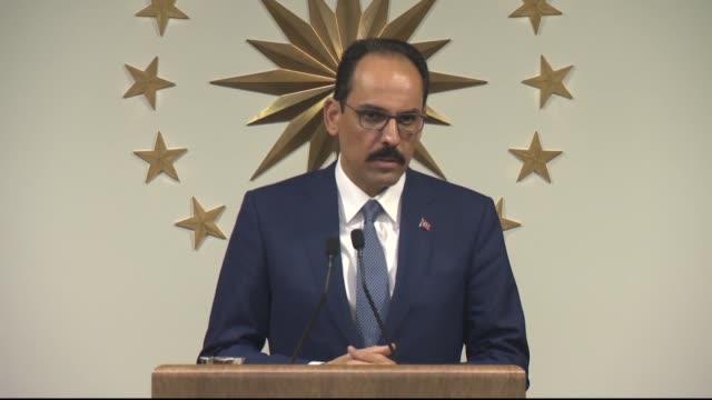 Turkish Presidential spokesperson Ibrahim Kalin speaks during a press conference at Tarabya Presidential Campus in Istanbul Turkey on July 03 2017...