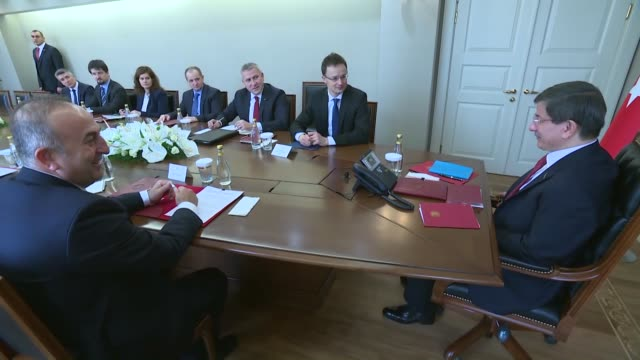 turkish prime minister ahmet davutoglu and turkish foreign minister mevlut cavusoglu holds meeting with hungarian foreign minister peter szijjarto,... - eastern european culture stock videos & royalty-free footage