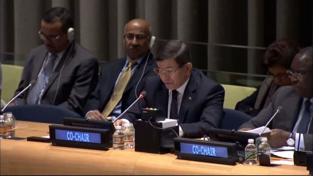 """turkish prime minister ahmet davutoglu co-chairs """"interactive dialog meeting"""" which takes part within un sustainable development summit in new york... - primo ministro turco video stock e b–roll"""