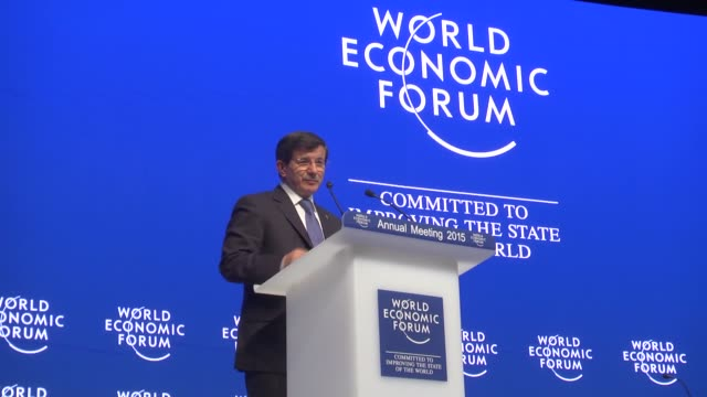 turkish prime minister ahmet davutoglu delivers a speech during a session of the 45th annual meeting of world economic forum in davos switzerland on... - jahreshauptversammlung stock-videos und b-roll-filmmaterial