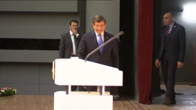 stockvideo's en b-roll-footage met turkish prime minister ahmet davutoglu delivers a speech during first evaluation meeting of positioning process of teacher candidate at ato... - videoato