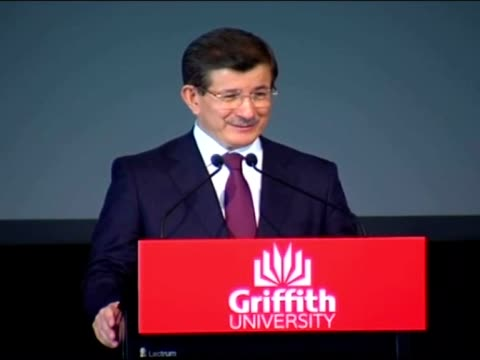 vídeos de stock e filmes b-roll de turkish prime minister ahmet davutoglu delivers a speech during the pre-g20 summit conference at the griffith university in brisbane, australia on... - prime minister