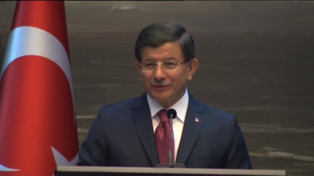 turkish prime minister ahmet davutoglu gives a speech at the investment forum in the hague netherlands on february 10 2016 - the hague stock videos and b-roll footage