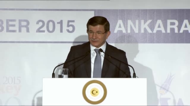 turkish prime minister ahmet davutoglu gives a speech during the women20 official lanuch in ankara turkey on september 06 2015 - türkischer premierminister stock-videos und b-roll-filmmaterial