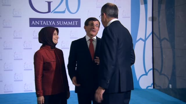 turkish prime minister ahmet davutoglu greets leaders before a reception hosted by turkish prime minister ahmet davutoglu within the g20 turkey... - g20 leaders' summit stock videos & royalty-free footage