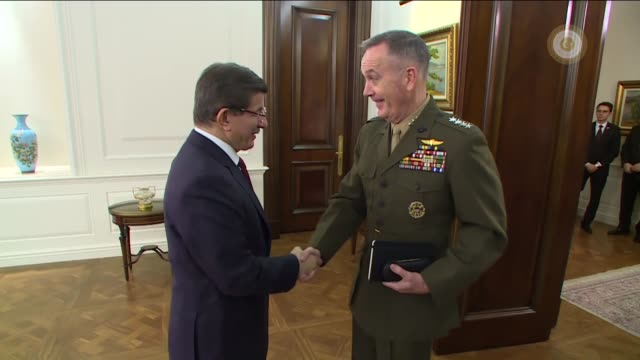 turkish prime minister ahmet davutoglu meets chairman of the joint chiefs of staff of the united states joseph dunford at the cankaya palace in... - joint chiefs of staff stock videos and b-roll footage
