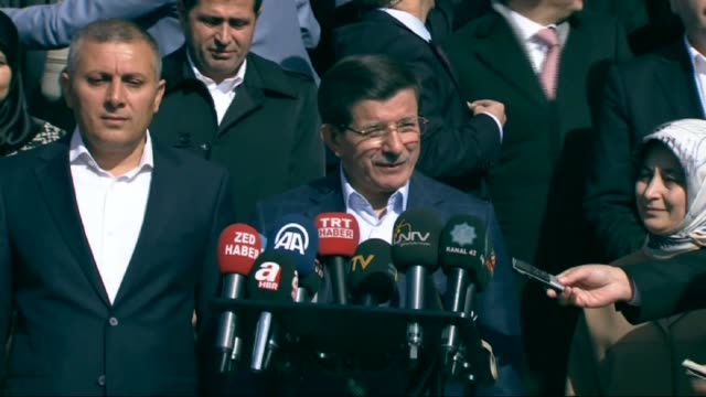 turkish prime minister ahmet davutoglu speaks to the media after casting his ballot in the turkey's 26th general election at a polling station in... - konya stock videos and b-roll footage