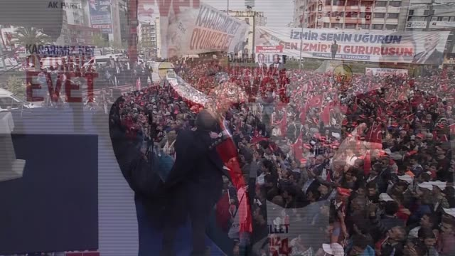 turkish prime minister and chairman of ruling justice and development party binali yildirim addresses citizens during ak party's yes campaign rally... - türkischer premierminister stock-videos und b-roll-filmmaterial