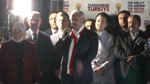 turkish prime minister and the leader of turkey's justice and development party binali yildirim delivers a victory speech from the balcony of his... - türkischer premierminister stock-videos und b-roll-filmmaterial