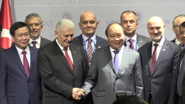 Turkish Prime Minister Bainali Yildirim attends the Turkey Vietnam business forum in Hanoi during his first visit to Vietnam
