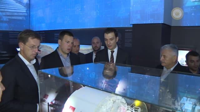 turkish prime minister binali yildirim accompanies slovenian prime minister miro cerar serbian prime minister ana brnabic estonian prime minister... - binali yildirim stock-videos und b-roll-filmmaterial