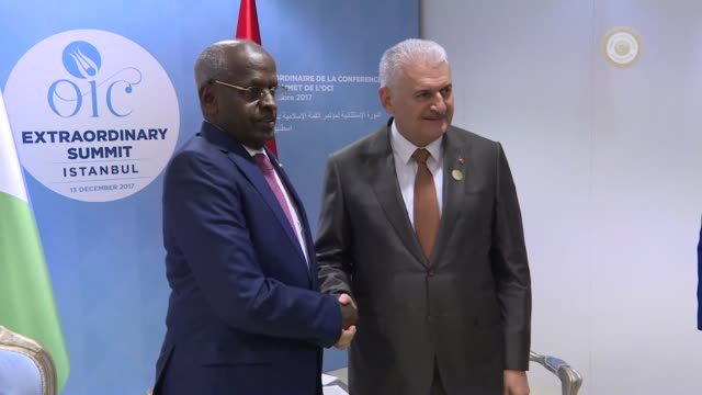 Turkish Prime Minister Binali Yildirim and Djiboutian Prime Minister Abdoulkader Kamil Mohamed hold a meeting on the sidelines of the extraordinary...