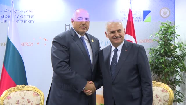 turkish prime minister binali yildirim and his bulgarian counterpart boyko borisov hold a meeting on the sidelines of the 22nd world petroleum... - primo ministro turco video stock e b–roll