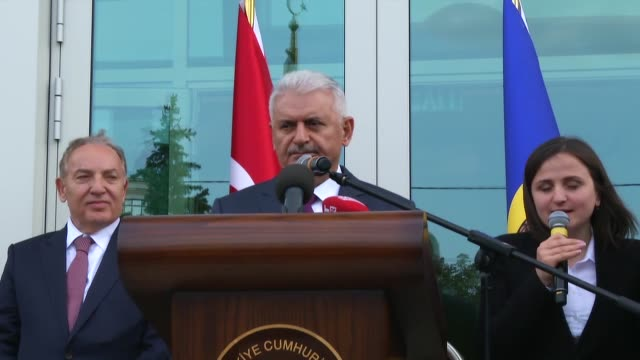 turkish prime minister binali yildirim and his moldovan counterpart pavel filip attend the opening ceremony of turkish embassy in chisinau moldova on... - moldova stock videos and b-roll footage