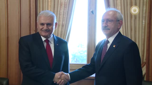 Turkish Prime Minister Binali Yildirim and main opposition Republican People's Party leader Kemal Kilicdaroglu hold a meeting at the Grand National...