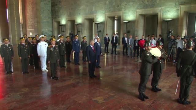 turkish prime minister binali yildirim and members of turkey's supreme military council visit anitkabir the mausoleum of turkey's founder mustafa... - mausoleum stock videos and b-roll footage
