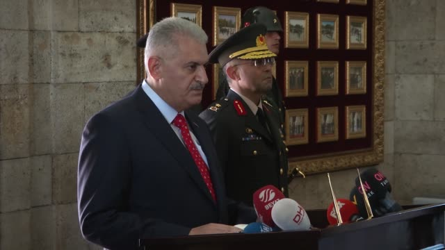 Turkish Prime Minister Binali Yildirim and members of Turkey's Supreme Military Council visit Anitkabir the mausoleum of Turkey's founder Mustafa...