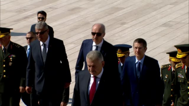 Turkish Prime Minister Binali Yildirim and members of Turkish Supreme Military Council are seen during their visit at Anitkabir mausoleum of Mustafa...