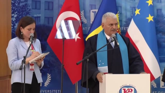 turkish prime minister binali yildirim attends the ceremony of receiving the title of honorary phd from comrat state university during his visit in... - moldova stock videos and b-roll footage