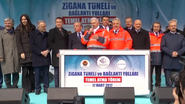 stockvideo's en b-roll-footage met turkish prime minister binali yildirim attends the zigana tunnel and new access roads groundbreaking ceremony in gumushane, turkey on march 17, 2017.... - number 9