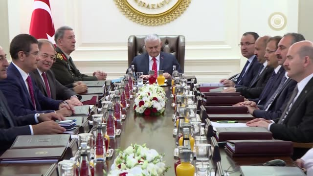 turkish prime minister binali yildirim chairs the supreme military council meeting at cankaya palace in ankara turkey on august 02 2017 deputy prime... - annual general meeting stock videos & royalty-free footage
