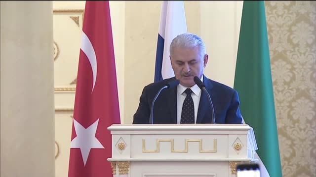 turkish prime minister binali yildirim delivers a speech during turktatar business forum in the capital of the russian autonomous region kazan russia... - kazan russia stock videos and b-roll footage