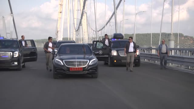 turkish prime minister binali yildirim drives his official car on the yavuz sultan selim bridge, the bridge which unites the asian and european sides... - yavuz sultan selim bridge stock videos & royalty-free footage