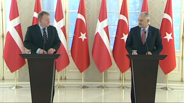 turkish prime minister binali yildirim holds a joint press conference with his danish counterpart lars lokke rasmussen at cankaya palace in capital... - türkischer premierminister stock-videos und b-roll-filmmaterial