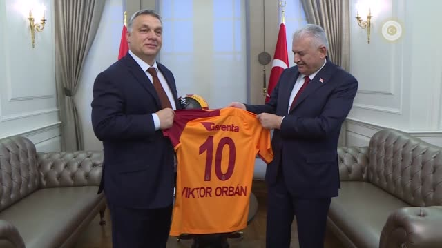 Turkish Prime Minister Binali Yildirim hosts a dinner in honor of Hungarian Prime Minister Viktor Orban at Cankaya Palace in Ankara Turkey on June 29...