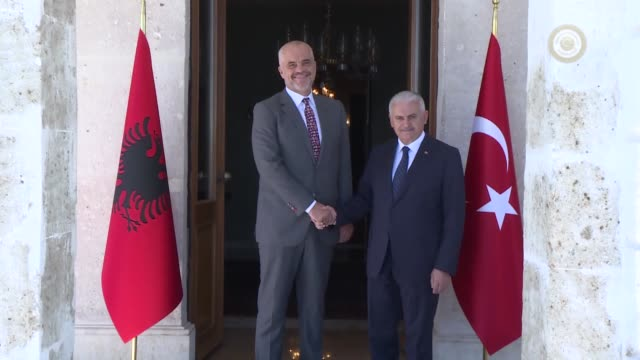 Turkish Prime Minister Binali Yildirim meets his Albanian counterpart Edi Rama at Dolmabahce Prime Ministry Office in Istanbul Turkey on July 10 2017