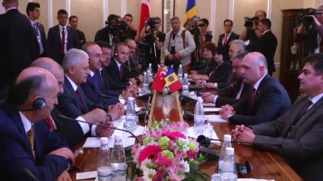 turkish prime minister binali yildirim meets his moldovan counterpart pavel filip in chisinau moldova on may 05 2017 - moldova stock videos and b-roll footage
