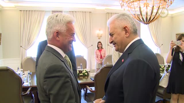 Turkish Prime Minister Binali Yildirim meets with British Minister of State for Europe and the Americas Alan Duncan at Cankaya Palace in Ankara...