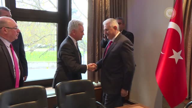 Turkish Prime Minister Binali Yildirim meets with British Secretary of State for Foreign Affairs Boris Johnson in London United Kingdom on November...