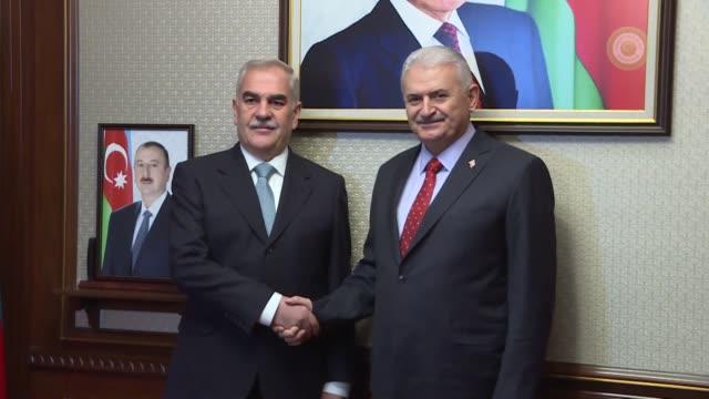 Turkish Prime Minister Binali Yildirim meets with Chairman of Nakhchivan's Supreme Assembly Vasif Talibov on December 20 2017 in Nakhchivan...