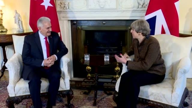 turkish prime minister binali yildirim meets with his british counterpart theresa may in london england on november 27 2017 - binali yildirim stock-videos und b-roll-filmmaterial