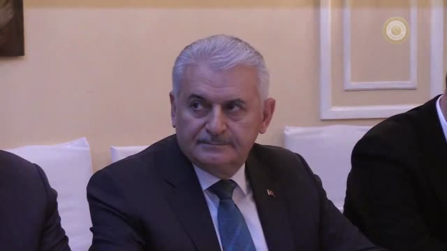 Turkish Prime Minister Binali Yildirim meets with his French counterpart Edouard Philippe on the sidelines of 2018 Munich Security Conference on...