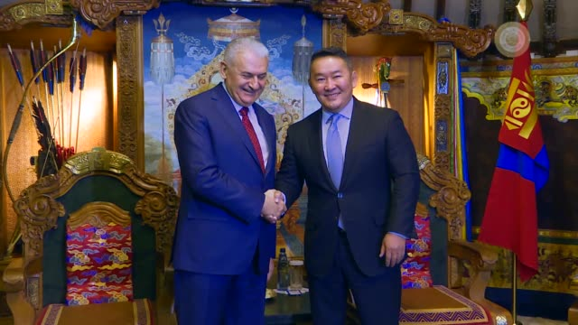 Turkish Prime Minister Binali Yildirim meets with Mongolian President Khaltmaa Battulga in Ulaanbaatar Mongolia on April 6 2018