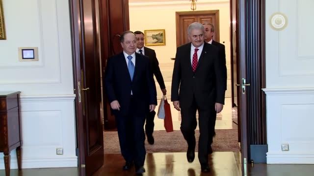 turkish prime minister binali yildirim meets with president of iraqi kurdish regional government masoud barzani in ankara turkey on february 27 2017 - türkischer premierminister stock-videos und b-roll-filmmaterial