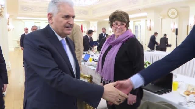 ankara turkey march 09 turkish prime minister binali yildirim meets with representative of foreign press in ankara turkey on march 09 2017 - türkischer premierminister stock-videos und b-roll-filmmaterial